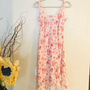 Ann Taylor slip on pink tones roses pattern dress